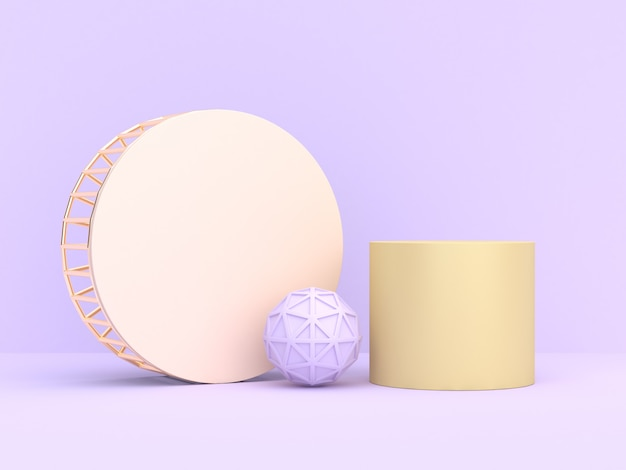 Minimalny miękki purpurowo-fiołkowy abstrakcjonistyczny geometryczny kształta rendering 3d