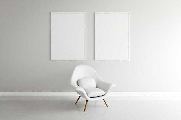Minimalny pokój z fotelem i ramami