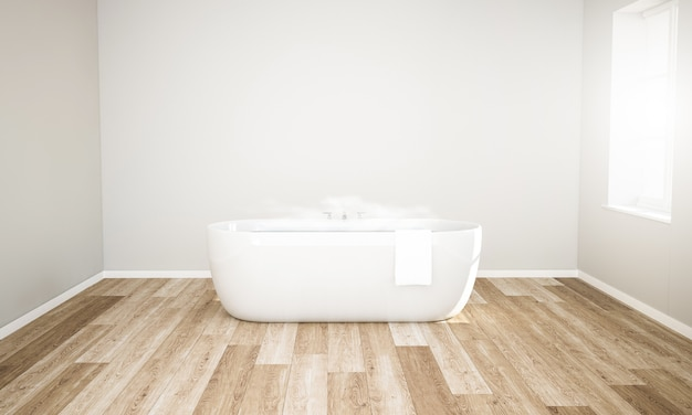 Minimalny pokój z wanną z gorącą wodą, gotowy na relaks