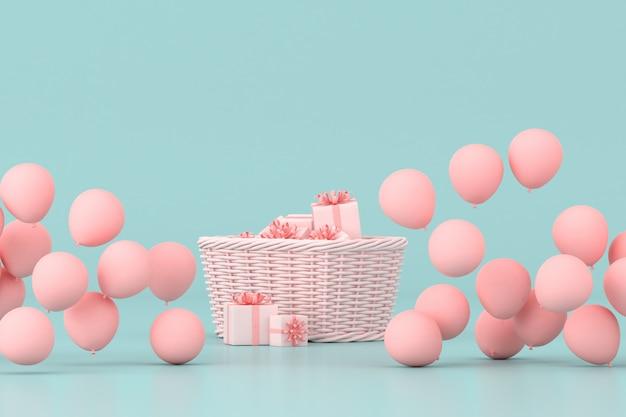 Minimalny pomysł koncepcyjny na obecne pudełka w koszu otaczają różowe balony na pastelowym tle. renderowanie 3d