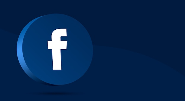 Minimalny projekt logo facebooka na okręgu 3d