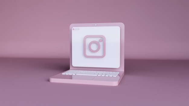 Minimalny projekt szablonu aplikacji logo instagram prosty na laptopie w kształcie 3d. renderowania 3d