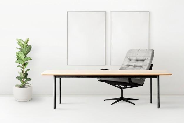 Minimalny projekt wnętrza biura domowego z rośliną figową o skrzypcach
