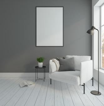 Minimalny pusty pokój z fotelem i szarej ściany lampa podłogowa ramka na zdjęcia renderowania 3d