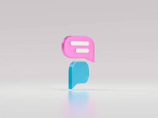 Minimalny różowy i niebieski bąbelek czatu. koncepcja wiadomości w mediach społecznościowych. ilustracja renderowania 3d