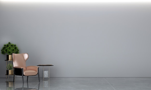 Minimalny salon i betonowa ściana tekstura tło projektowanie wnętrz renderowanie 3d