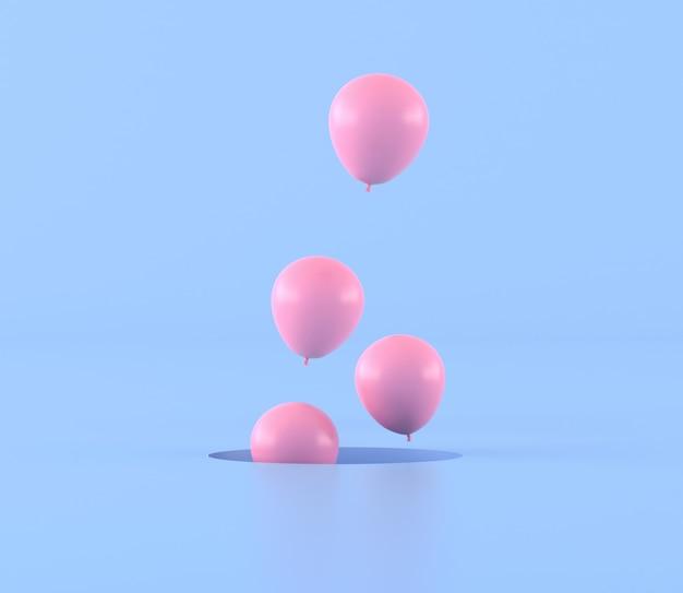 Minimalny styl różowi balony unosi się out od dziury na błękitnym tle, prezenta pomysł, 3d rendering.