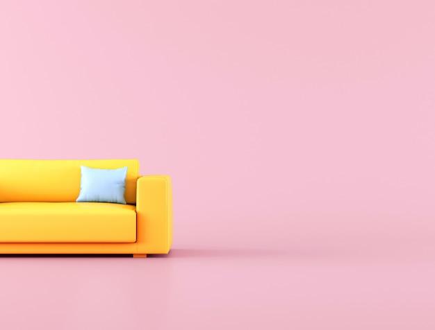 Minimalny styl żółta kanapa na różowym tle