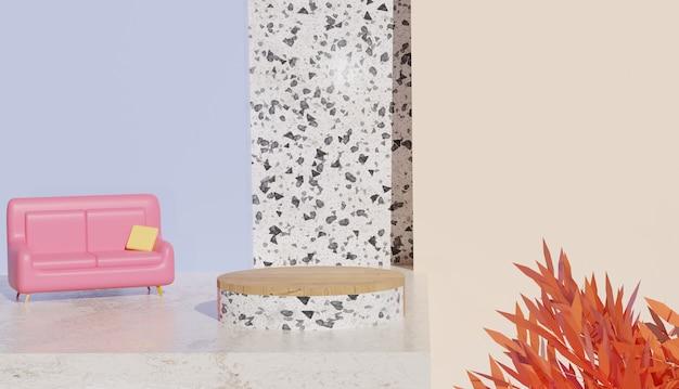 Minimalny widok białego podium lastryko z sofą i liśćmi wiosną i jesienią