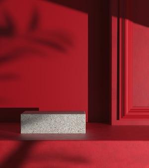 Minimalny wyświetlacz makiety z czerwoną sceną i cieniem przeciwsłonecznym na ścianie