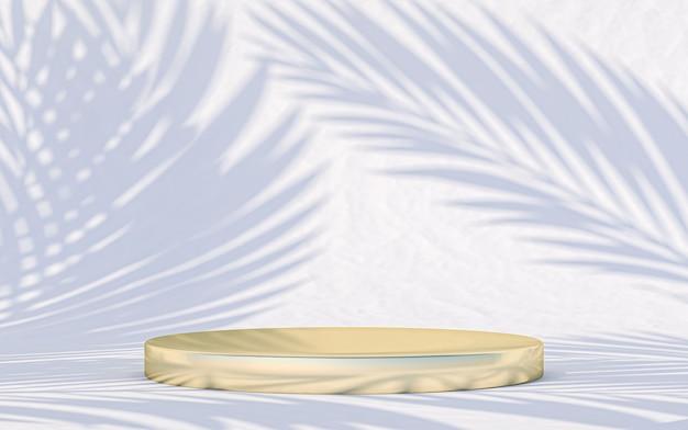 Minimalny wyświetlacz podium z abstrakcyjnymi liśćmi w tle. renderowanie 3d