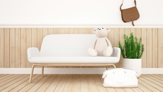 Miś na kanapie w salonie lub kawiarni - 3d rendering