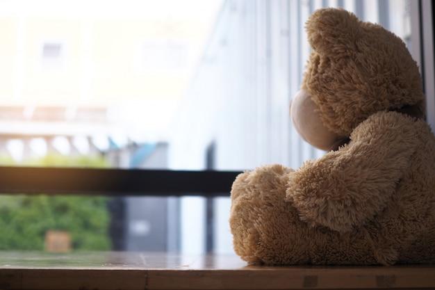 Miś siedzi sam patrząc w okno domu.