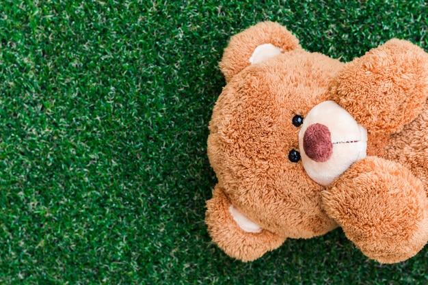Miś spał na szczęśliwej twarzy trawy