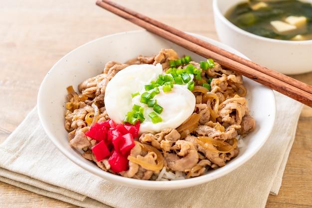Miska ryżu wieprzowego z jajkiem (donburi) - japońskie jedzenie