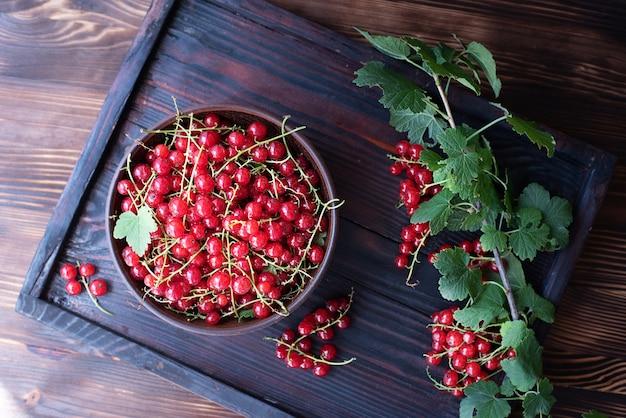 Miska świeżych czerwonych porzeczek na drewnianej tacy z gałęzi porzeczek, z bliska.