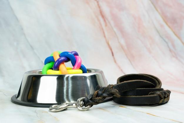 Miska ze smyczami dla psa lub kota. koncepcja akcesoriów dla zwierząt domowych.