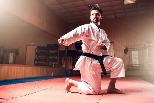 Mistrz sztuk walki na treningu walki na siłowni