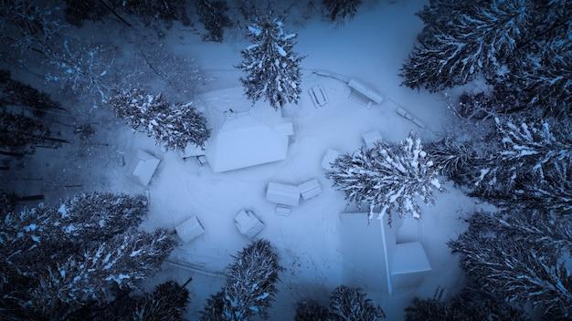 Mistyczna atmosfera, widok z góry na zaśnieżone domy w górskim lesie.