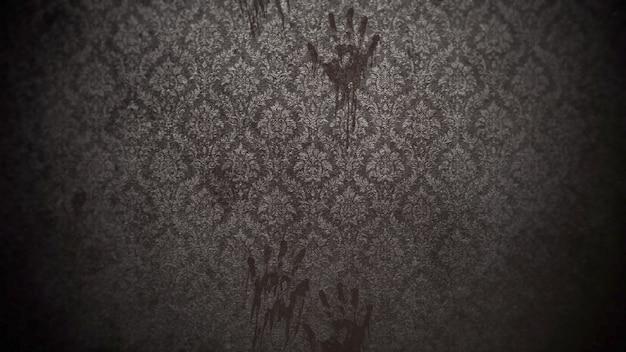 Mistyczne tło horroru z ciemnej sali pokoju. wakacje halloween streszczenie tło. luksusowa i elegancka ilustracja 3d motywu halloween