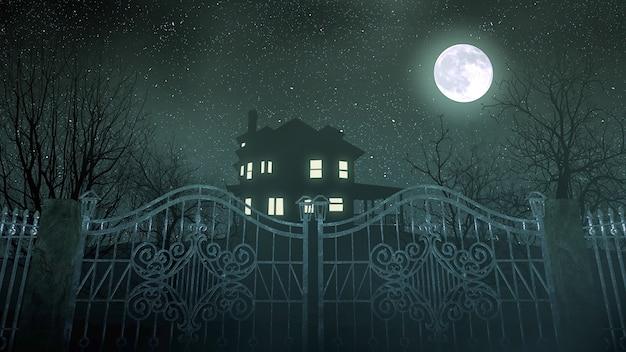 Mistyczne tło horroru z domu i księżyca, streszczenie tło. luksusowa i elegancka ilustracja 3d horroru i motywu halloween