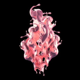 Mistyczny, luksusowy plusk z różowymi błyszczącymi perłowymi refleksami. ilustracja, renderowanie 3d.