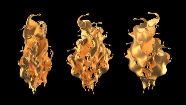 Mistyczny, luksusowy plusk ze złotymi lśniącymi perłowymi odcieniami. ilustracja, renderowanie 3d.