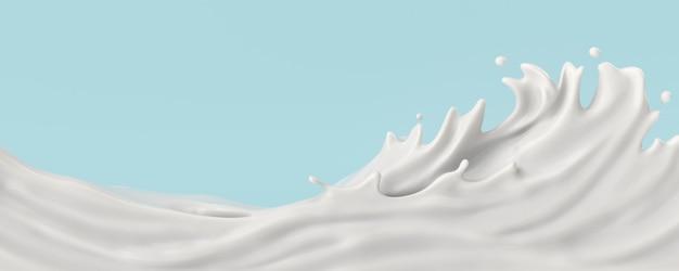 Mleko lub jogurt plusk, ilustracja 3d.