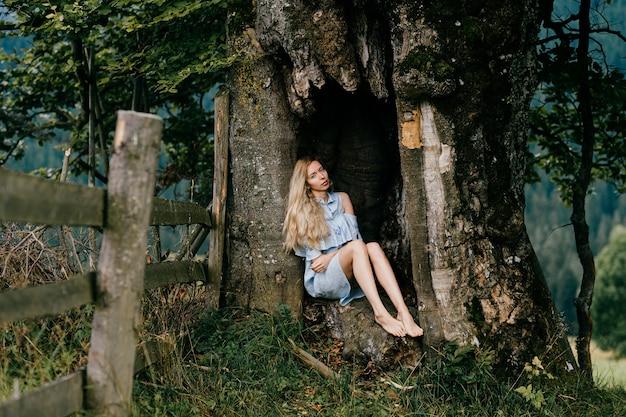 Młoda atrakcyjna blondynka boso w niebieskiej sukience siedzi na starym drzewie