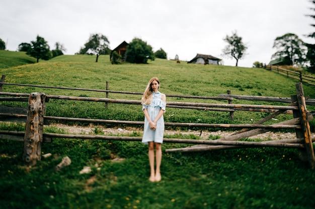 Młoda atrakcyjna elegancka blondynka w niebieskiej sukience pozowanie w pobliżu ogrodzenia na wsi