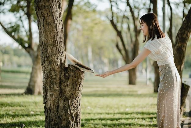 Młoda azjatykcia kobieta karmi dokrętki wiewiórcza pozycja na drzewie w biel ubraniach
