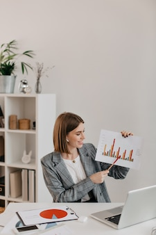 Młoda biznesowa kobieta w białym biurze z uśmiechem pokazuje grafikę, rozmawia z klientami na skype.