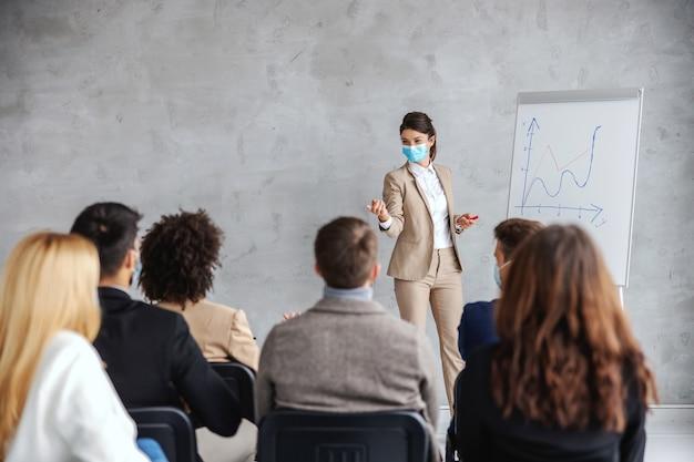 Młoda businesswoman z maską stojącą przed publicznością posiadającą prezentację miesięcznego wynagrodzenia na stanie. biznes podczas koncepcji wirusa koronowego.