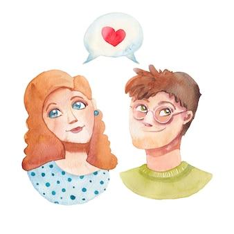 Młoda dziewczyna i chłopak, bańka komunikacji z sercem.