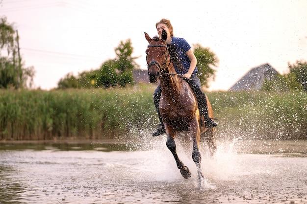 Młoda dziewczyna jedzie na koniu na płytkim jeziorze, koń biegnie po wodzie o zachodzie słońca, opieka i spacer z koniem, siła i uroda