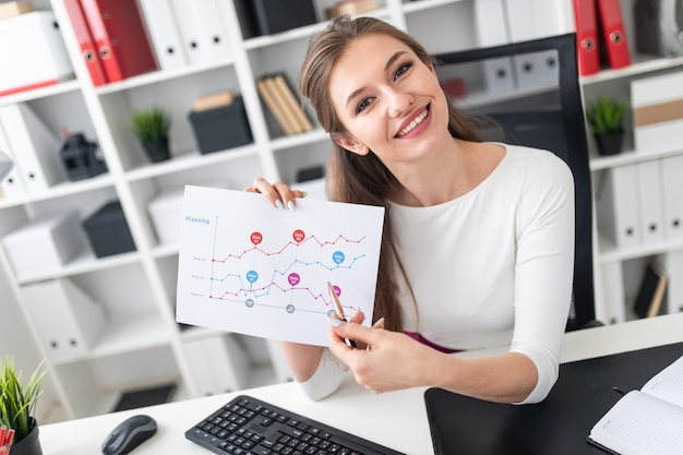 Młoda dziewczyna siedzi przy stole i pokazuje pióro na mapie.