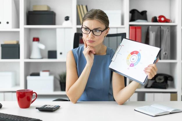 Młoda dziewczyna siedzi przy stole w biurze i trzyma długopis oraz dokument ze schematem.