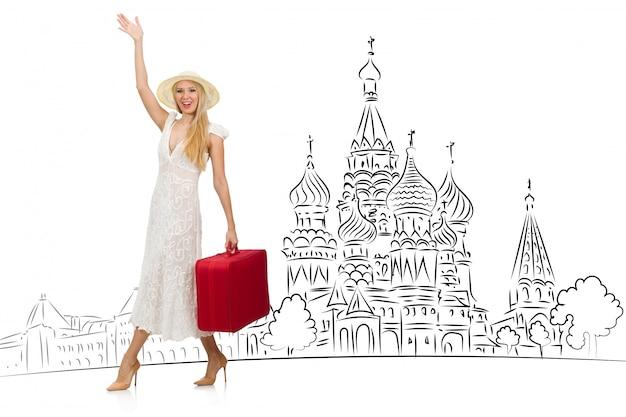 Młoda dziewczyna w koncepcji turystyki do rosji