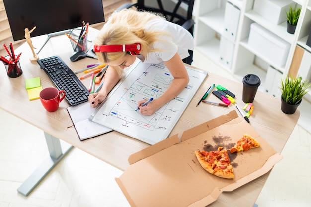 Młoda dziewczyna w słuchawkach stoi przy stole i trzyma w dłoni marker.