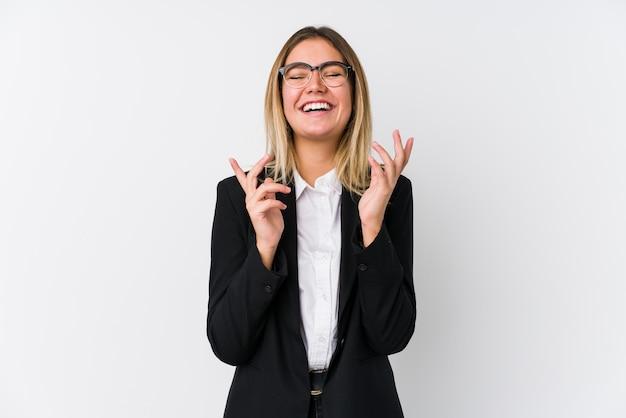 Młoda kobieta biznesu kaukaski radosny, śmiejąc się dużo. koncepcja szczęścia.