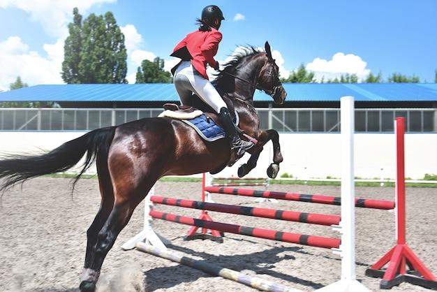 Młoda kobieta dżokej na koniu skacząc przez przeszkodę. konny