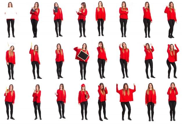 Młoda kobieta gesty i pojęcia grupy