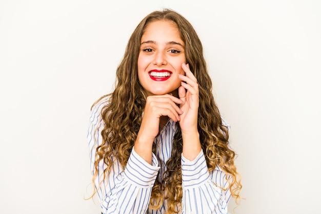Młoda kobieta kręcone ładna twarz zbliżenie