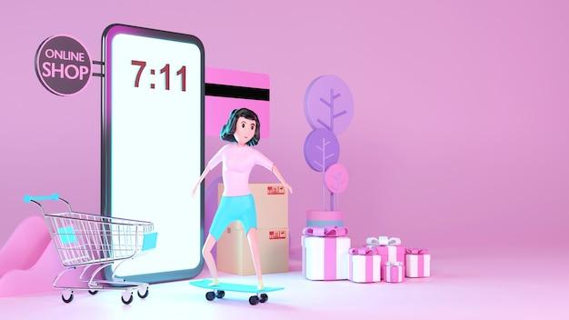 Młoda kobieta na deskorolce z telefonu projekt renderowania 3d.