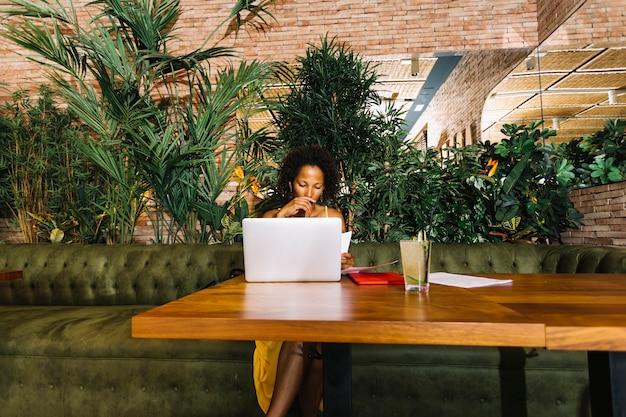Młoda kobieta patrzeje laptop z koktajlu szkłem na drewnianym stole w restauraci