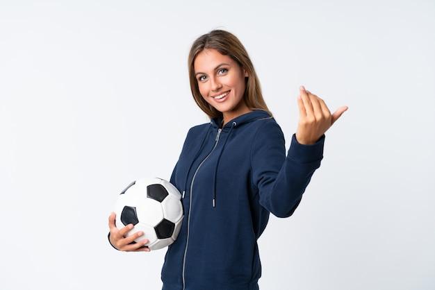 Młoda kobieta piłkarz