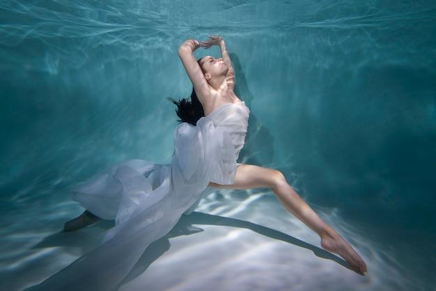 Młoda kobieta pozuje zanurzona pod wodą w zwiewnej sukience