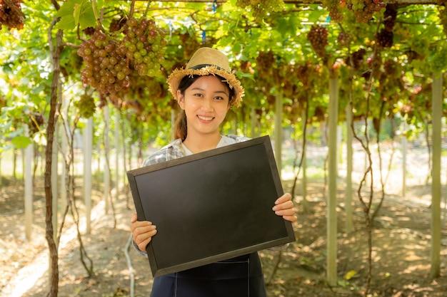 Młoda kobieta rolnik azji gospodarstwa tablica w winnicy winogron, koncepcja zdrowych organicznych owoców.