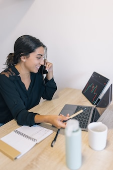 Młoda kobieta rozmawia przez telefon i śmieje się, wskazując na ekran piórem