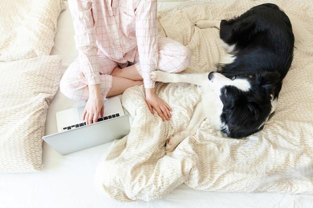 Młoda kobieta siedzi na łóżku z zwierzę domowe psem w piżamach pracuje używać na laptopie w domu